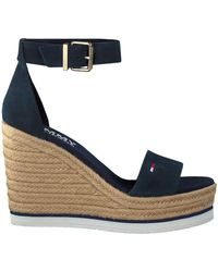 Tommy Hilfiger Blauwe Sandalen Natural Wedge