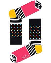 Happy Socks Schwarze Socken Stripes & Dot Sock