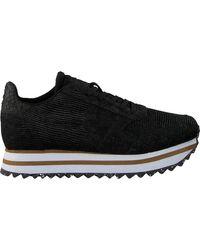Woden Zwarte Lage Sneakers Ydun Pearl Ii Plateau