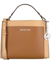 Michael Kors Camelfarbene Handtasche Gemma Md Pocket Th Satchel - Natur