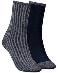 Tommy Hilfiger Graue Socken Th Women Vertical Lurex - Blau