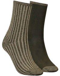 Tommy Hilfiger Grüne Socken Th Women Vertical Lurex