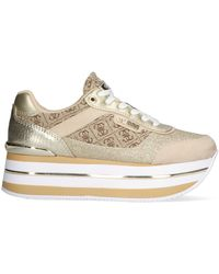 Guess - Gouden Lage Sneakers Hansin - Lyst