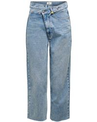 ONLY Onlpam Mid Cropped Straight Fit Jeans - Blau