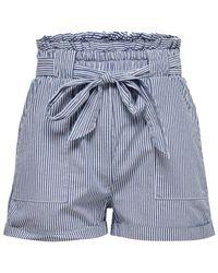 ONLY Gestreifte Shorts - Blau