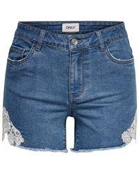 ONLY ONLCarmen neue Spitzen Jeansshorts - Blau