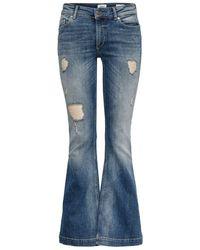 ONLY Jo Reg Destroyed Flared Jeans - Blau