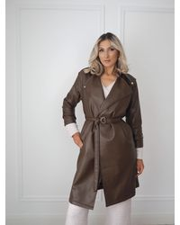 Ontrend Brown Faux Leather Trench Coat
