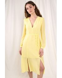 Glamorous Summer V-neck Wrap Dress - Yellow