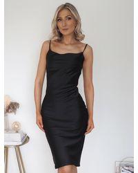 Ontrend Black Plain Satin Slip Dress