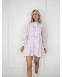 Ontrend Andrea Animal Print Lilac Shirt Dress - Purple