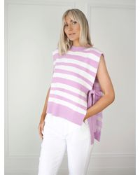 Ontrend Purple And White Stripe Jumper Vest Knit