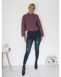 Ontrend Carla Dusty Purple Soft Hand Chunky Knitted Wool Jumper