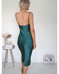 Ontrend Emeralda Plain Satin Slip Dress - Green