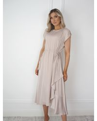 Ontrend Beige Midi Dress With Ruffle Slit - Natural