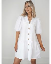 Ontrend White Shirt Dress With Broderie Collar