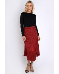 AX Paris Spotted Satin Midi Skirt - Red