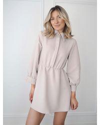 Ontrend Georgie Beige Short Button Dress - Natural