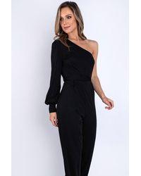 EmmaCloth One Shoulder Jumpsuit - Black