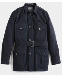 Private White V.c. Navy Belted Safari Jacket - Blue