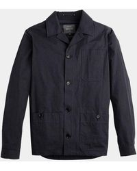 Private White V.c. Navy Mayfair Shacket - Blue