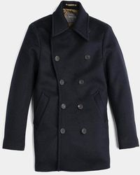 Private White V.c. Navy Bridge Coat - Blue