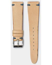 Hestrap Blue Stitch Natural Senna Leather Watch Strap