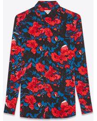 Saint Laurent - Floral Silk Jacquard Shirt - Lyst