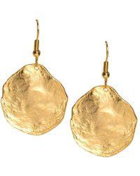 Kenneth Jay Lane - Brushed Satin Gold Disc Fishhook Pierced Earrings - Lyst