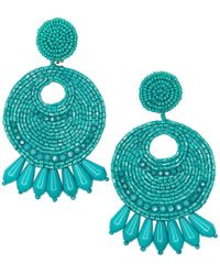 Kenneth Jay Lane - Turquoise Seed Bead Round Gypsy Hoop With Drops Pierced Or Clip Earrings - Lyst