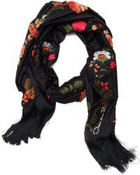 Oscar de la Renta Floral Border Scarf - Black