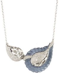 Alexis Bittar Frosted Crystal Encrusted Paisley Rope Hinged Bib Necklace