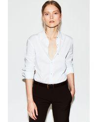 Misha Nonoo The Husband Shirt Linen With Silver Studs - White