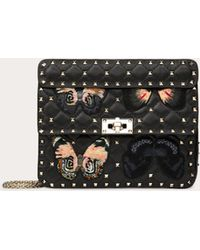 Valentino Medium Rockstud Spike.it Bag With Butterfly Patches