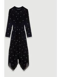 Maje Cashmere Scarf Dress With Strass Motif - Black