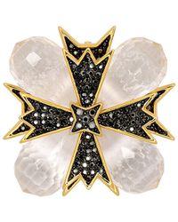 Kenneth Jay Lane - Gold Cross Clear Pin - Lyst