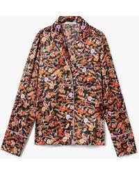 10 Crosby Derek Lam Long Sleeve Paisley Print Pajama Shirt - Black