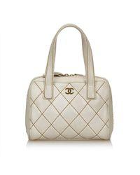 f73720c003dd Lyst - Chanel Surpique Mini Boston Bag in Black