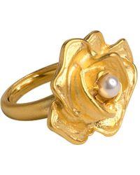 Kenneth Jay Lane - Flower & Pearl Ring - Lyst