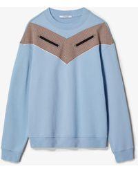 10 Crosby Derek Lam Cotton Terry Sweatshirt With Checked Chevron Inset - Blue