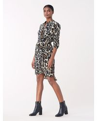 Diane von Furstenberg Prita Silk Crepe De Chine Belted Shirt Dress - Black