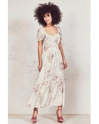 d5fd4a992de7 LoveShackFancy Angie Gathered Floral-print Cotton Maxi Dress in ...