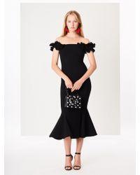 c50a1e312 Oscar de la Renta Floral-embroidered Double-face Stretch-wool Cocktail Dress