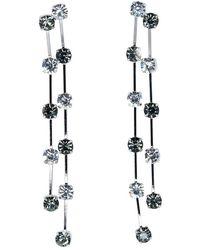 Kenneth Jay Lane - 2 Row Silver, Black & Crystal Drop Pierced Or Clip Earrings - Lyst