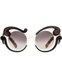 f3754b82e1d5 Prada Baroque Round Brow-bar Sunglasses in Pink - Lyst