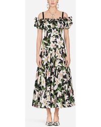 Dolce & Gabbana - Long Lily-print Poplin Dress - Lyst