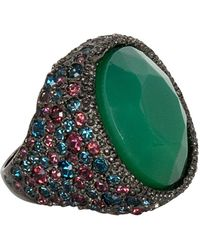 Kenneth Jay Lane - Sapphire And Apple Jade Ring - Lyst
