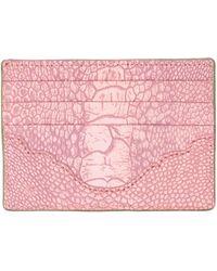 Okapi Card Holder / Linden Green & Pink Stone Wash Ostrich Shin