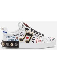 Printed Calfskin Nappa Portofino Sneakers With Patch And Embroidery White