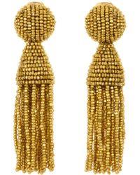 Oscar de la Renta - Celadon Short Tassel Earrings - Lyst